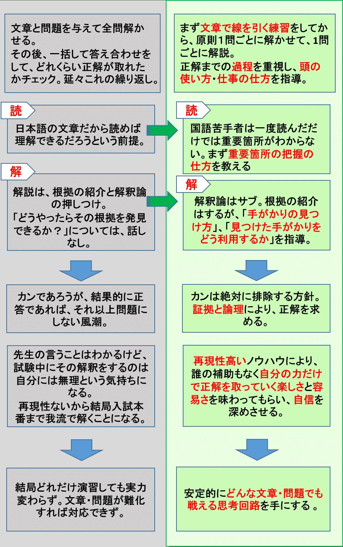 国語長文読解の一般指導とセルフィン式の比較2