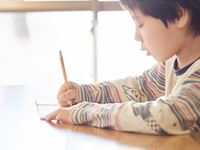 国語を勉強する小学生